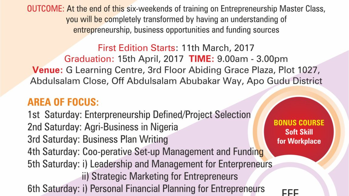 A-SIX WEEKEND INTENSIVE TRAINING ON ENTREPRENEURSHIP PROGRAM