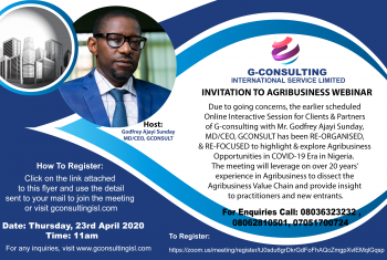 INVITATION TO AGRIBUSINESS WEBINAR